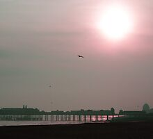 Winter sunset over Hastings Pier by Mark Thompson