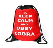 Keep Calm and Obey Cobra Drawstring Bag