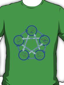 Rock Paper Scissors Lizard Spock! - In Blue!  T-Shirt