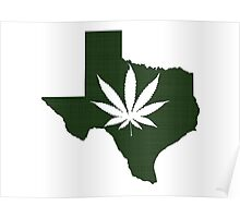 Marijuana Leaf Texas Poster