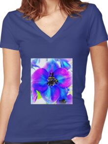 Delphinium Flower Women's Fitted V-Neck T-Shirt
