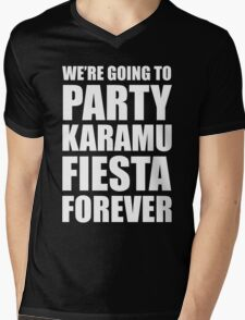 Party Karamu Fiesta Forever (White Text) Mens V-Neck T-Shirt