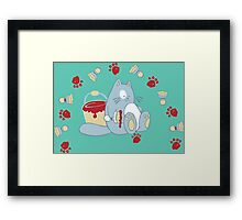 Jolly painting cat Framed Print