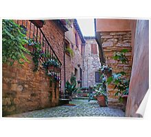 Courtyard in Spello, Italy Poster