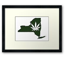 Marijuana Leaf New York Framed Print