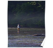 TROUT FISHERMAN IN RIVER CASTING FLY  Poster
