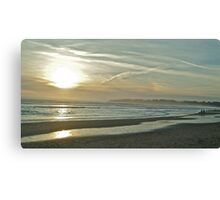 Walkers and dog on Stinson Beach Canvas Print
