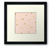 Golden scattered confetti pattern, angel pink background Framed Print