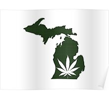 Marijuana Leaf Michigan Poster