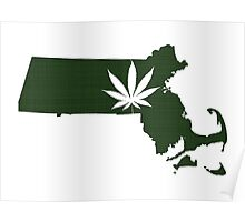 Marijuana Leaf Massachusetts Poster