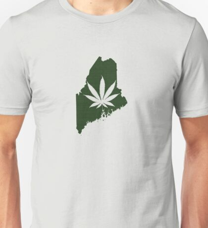 Marijuana Leaf Maine Unisex T-Shirt