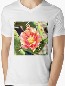 Red and Yellow Cactus Flower Bloom Mens V-Neck T-Shirt