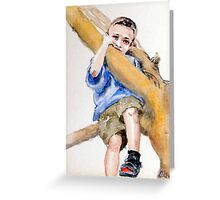 Billy's up the Mango tree, I can see you Greeting Card