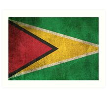 Old and Worn Distressed Vintage Flag of Guyana Art Print