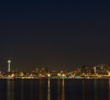 Seattle Skyline at Night by Stacey Lynn Payne