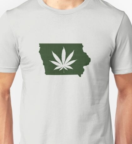 Marijuana Leaf Iowa Unisex T-Shirt