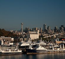 Seattle Skyline and Seafood Ships by Stacey Lynn Payne