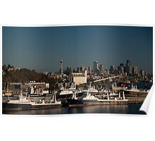 Seattle Skyline and Seafood Ships Poster