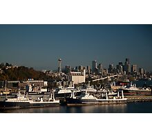 Seattle Skyline and Seafood Ships Photographic Print