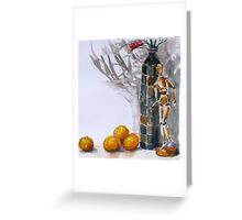 still life with Australian native grevillia flowers and wooden artists model Greeting Card