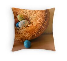 Easter Eggs and Bunny Throw Pillow