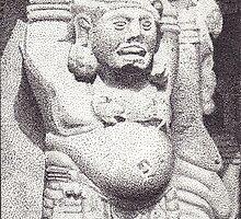 Gateway Detail, Great Stupa, Sanchi, Madhya Pradesh, India, Ink Drawing by RIYAZ POCKETWALA