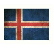 Old and Worn Distressed Vintage Flag of Iceland Art Print