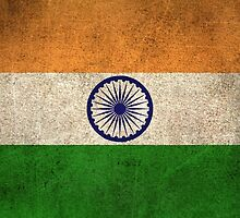 Old and Worn Distressed Vintage Flag of India by Jeff Bartels