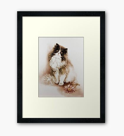 """""""Cat with Flower"""" Painting in Oils Framed Print"""
