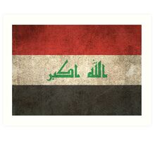 Old and Worn Distressed Vintage Flag of Iraq Art Print