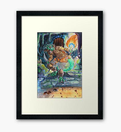 Elder Scrolls Oblivion: Argonian in the Cave Framed Print