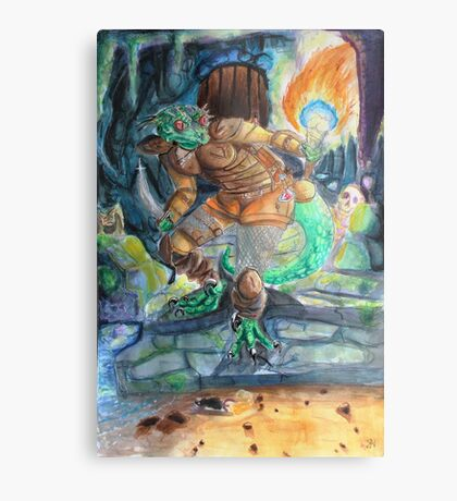 Elder Scrolls Oblivion: Argonian in the Cave Metal Print