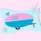 Pink Aqua Atomic Space Age Camper by Patricia Montgomery