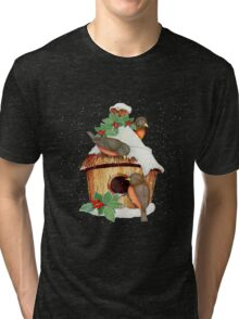 Winter Birds  and Christmas Birdhouse Tri-blend T-Shirt
