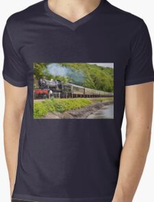 river side railway Mens V-Neck T-Shirt