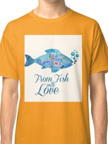 Watercololor patterned fish blue illustration with the red heart inside Classic T-Shirt