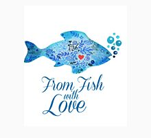 Watercololor patterned fish blue illustration with the red heart inside Unisex T-Shirt