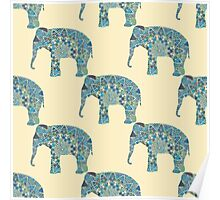 seamless pattern with the patterned elephants Poster