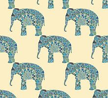 seamless pattern with the patterned elephants by julkapulka