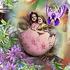 TWO GIRLS IN PINK EGG by Frances Perea