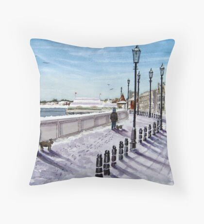 """Footprints in the Snow"" - Burnham-on-Sea, Somerset Throw Pillow"