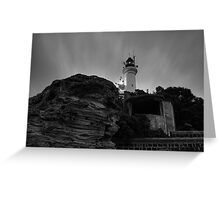 Pre Dawn at Point Lonsdale Lighthouse in Black and White Greeting Card