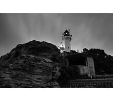 Pre Dawn at Point Lonsdale Lighthouse in Black and White Photographic Print