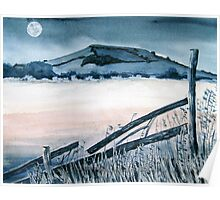 """By the Light of the Silvery Moon"" - Brent Knoll, Somerset Poster"
