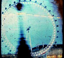 london eye through the taxi window by Sonia de Macedo-Stewart