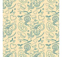 Tea party seamless pattern Photographic Print