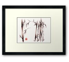 """garden of dreams"" sumi-e ink brush pen drawing on paper Framed Print"