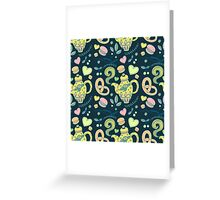 Tea party seamless pattern Greeting Card
