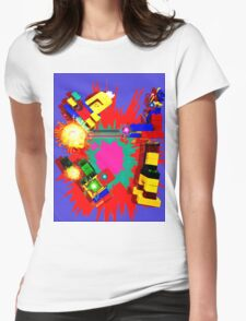 Retro Fighting Robots Womens Fitted T-Shirt