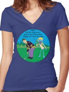 Mr. Meeseeks Happy Gilmore Parody Women's Fitted V-Neck T-Shirt